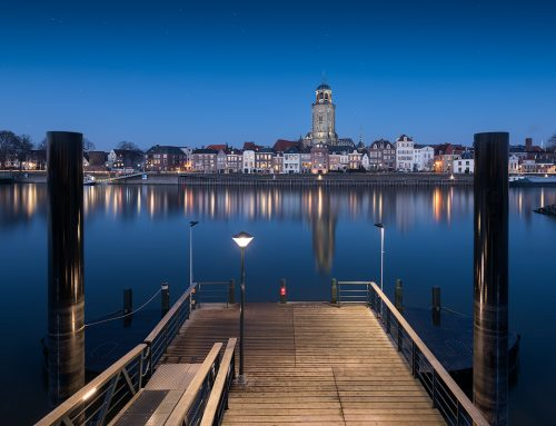 Skyline of Deventer during blue hour